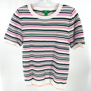 Dip Short Sleeve Fitted Striped Sweater